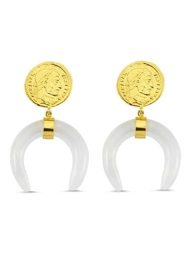 Reian Jewelry Coın Quartz Küpe Altın